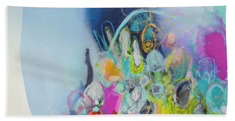 Abstract Hand Towel featuring the painting Still Playing by Claire Desjardins