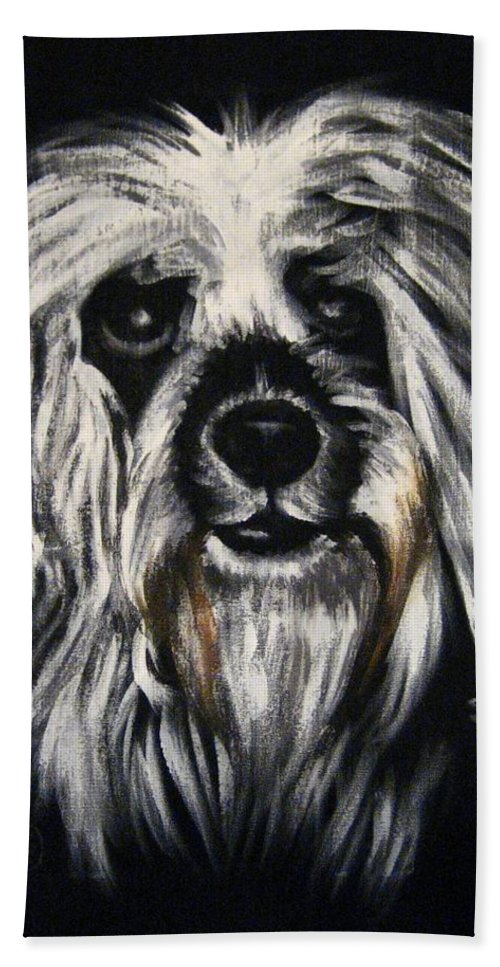 Dog Hand Towel featuring the painting Stinker by Sherry Oliver