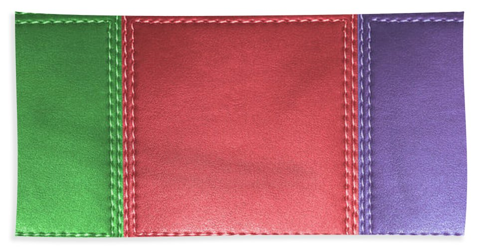 Stitched Hand Towel featuring the mixed media Stitched Leather Look Colorful Squares For Wall Decorations by Navin Joshi