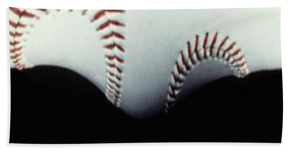 Baseball Bath Towel featuring the photograph Stitches Of The Game by Tim Allen