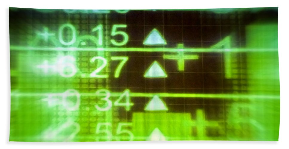 Stock Exchange Hand Towel featuring the photograph Stock Market Numbers by Jijo George