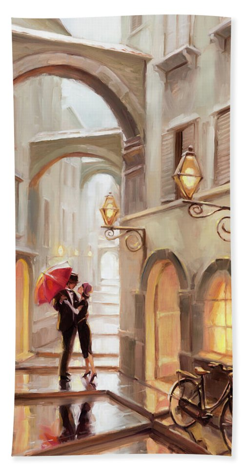 Love Bath Towel featuring the painting Stolen Kiss by Steve Henderson