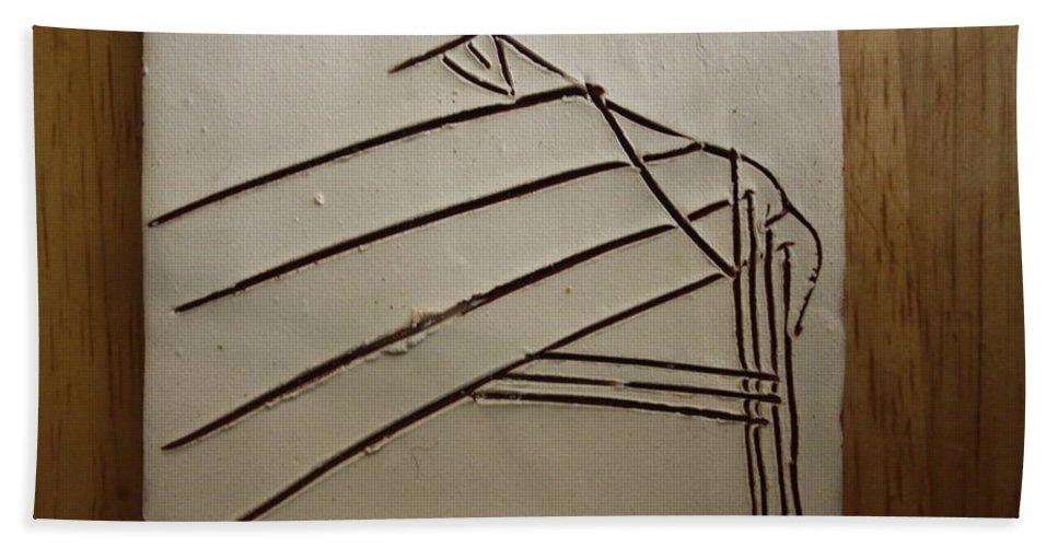 Jesus Bath Sheet featuring the ceramic art Stone - Tile by Gloria Ssali
