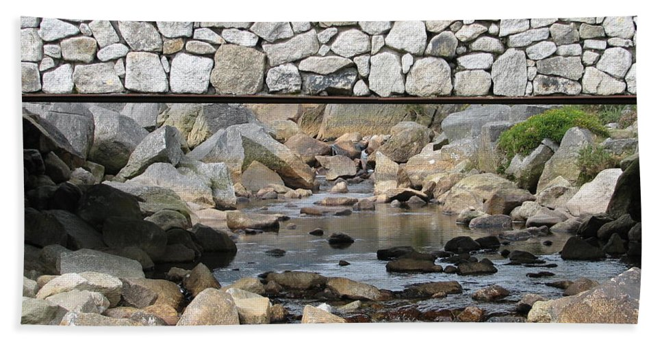 Stone Hand Towel featuring the photograph Stone Bridge by Kelly Mezzapelle