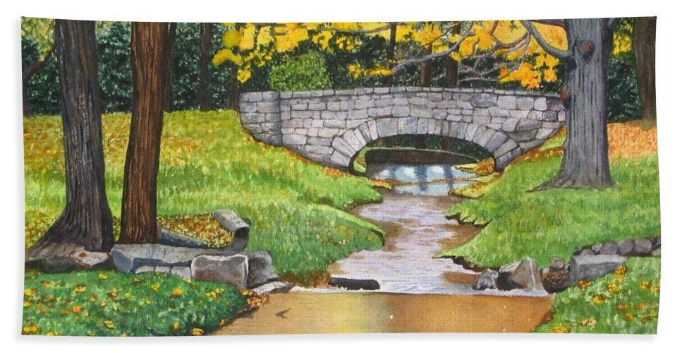 Landscape Bath Towel featuring the painting Stone Bridge by Sharon Farber