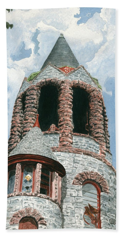Church Bath Towel featuring the painting Stone Church Bell Tower by Dominic White
