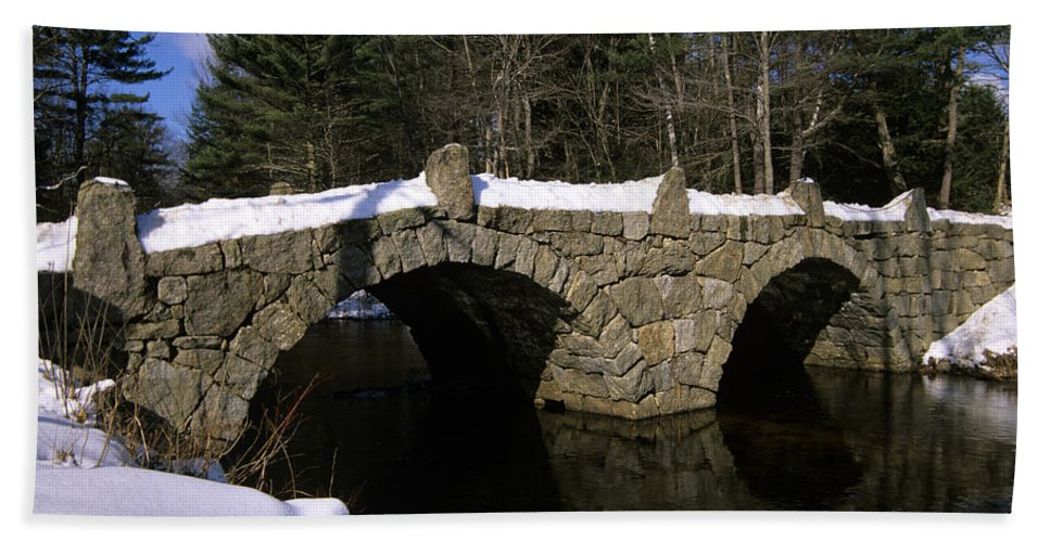 Bridge Bath Towel featuring the photograph Stone Double Arched Bridge - Hillsborough New Hampshire Usa by Erin Paul Donovan