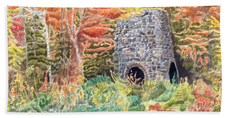 Stones Bath Towel featuring the painting Stone Furnace by Dominic White