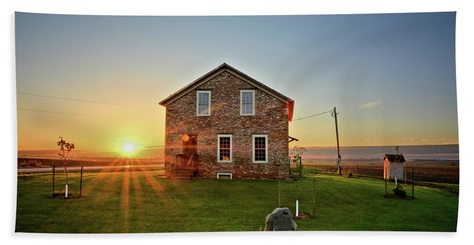 Sun.sunburst Bath Sheet featuring the photograph Stone House Sunrise by Bonfire Photography