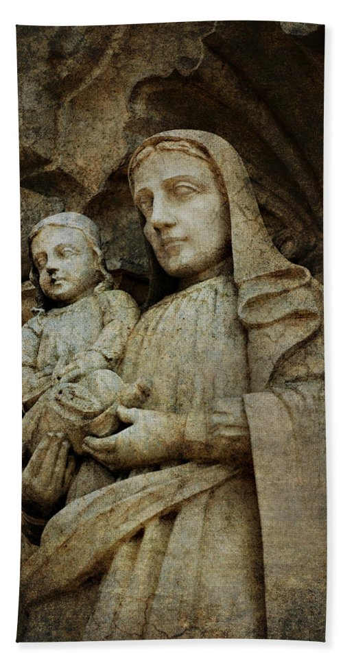 Mission Hand Towel featuring the photograph Stone Madonna And Child by Renee Hong