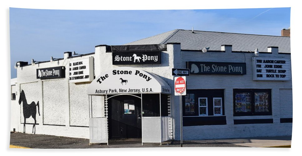 Stone Pony Bath Sheet featuring the photograph Stone Pony, Asbury Park by Bob Cuthbert