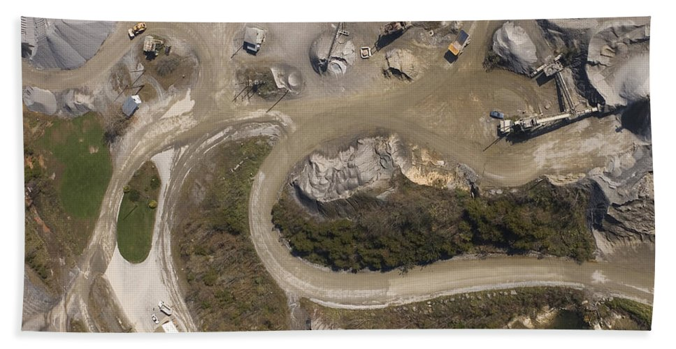 Stone Bath Sheet featuring the photograph Stone Quarry Aerial by Robert Ponzoni