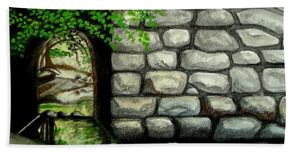 Landscape Hand Towel featuring the painting Stone Tunnel by Elizabeth Robinette Tyndall