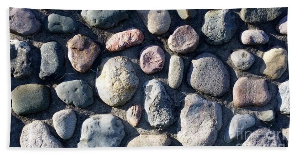 Stones Bath Sheet featuring the photograph Stone Wall At Gallup Park by Josephine Sheppard