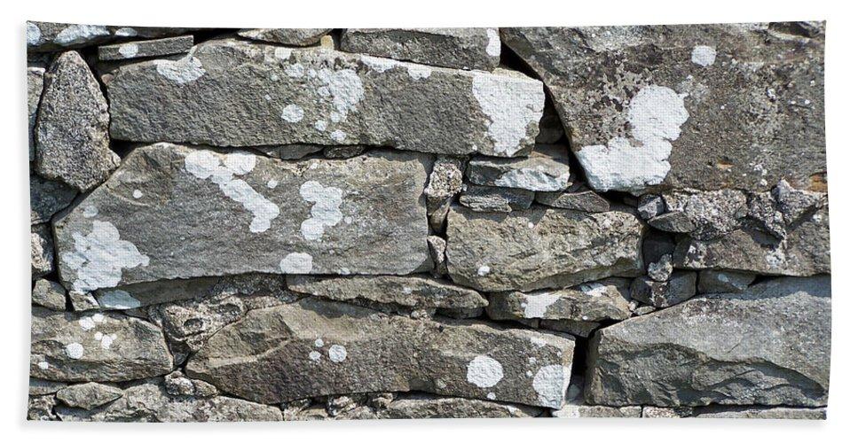 Irish Bath Towel featuring the photograph Stone Wall Detail Doolin Ireland by Teresa Mucha