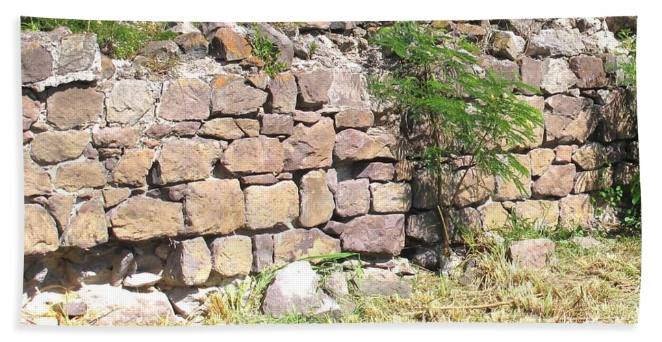 Stone Wall Hand Towel featuring the photograph Stone Wall by Ian MacDonald