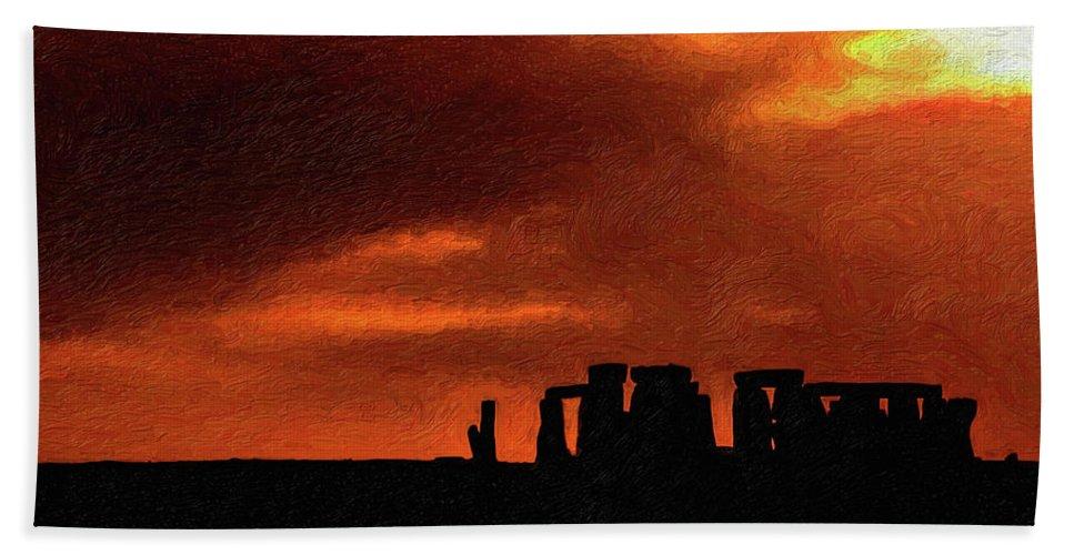 Stonehenge Bath Towel featuring the photograph Stonehenge Impasto 2 by Steve Harrington