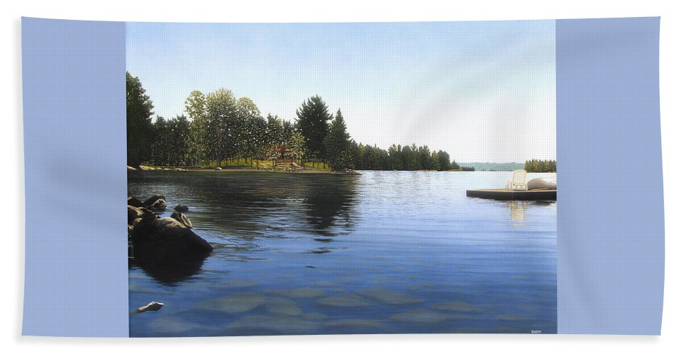 Landscapes Bath Towel featuring the painting Stoney Lake by Kenneth M Kirsch