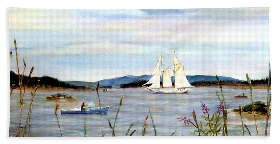 Stonington Harbor Bath Sheet featuring the painting Stonington Harbor, Maine by Pamela Parsons