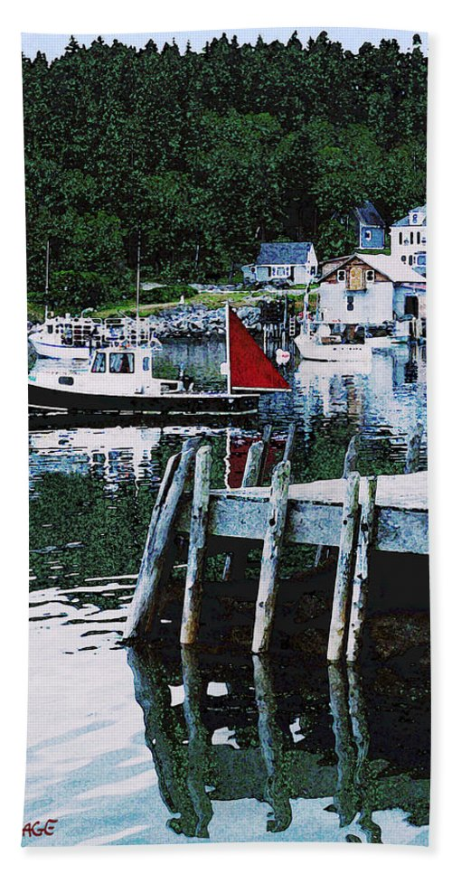 Maine Bath Sheet featuring the photograph Stonington Harbor With Pier Maine Coast by Ed A Gage