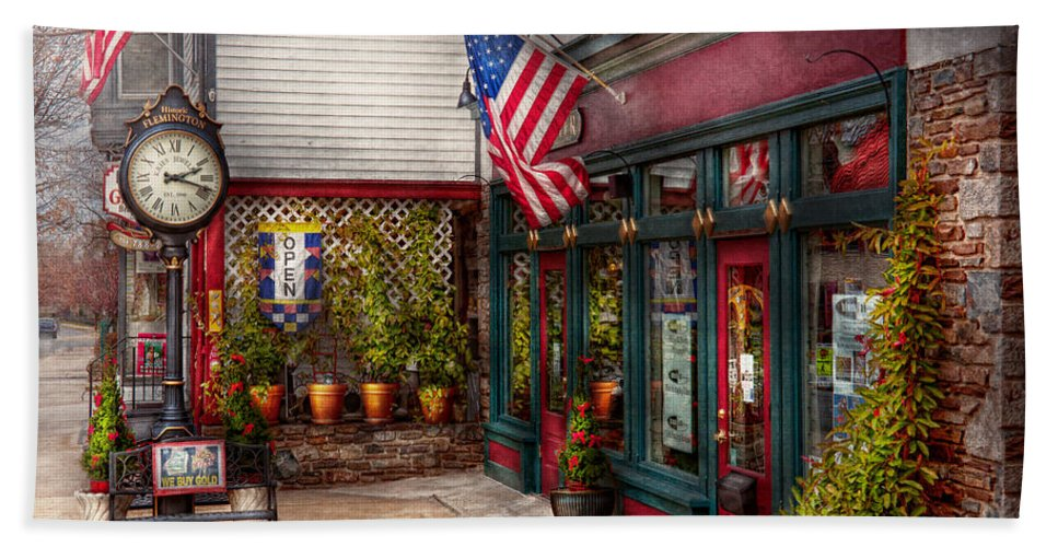 New Jersey Hand Towel featuring the photograph Store - Flemington Nj - Historic Flemington by Mike Savad