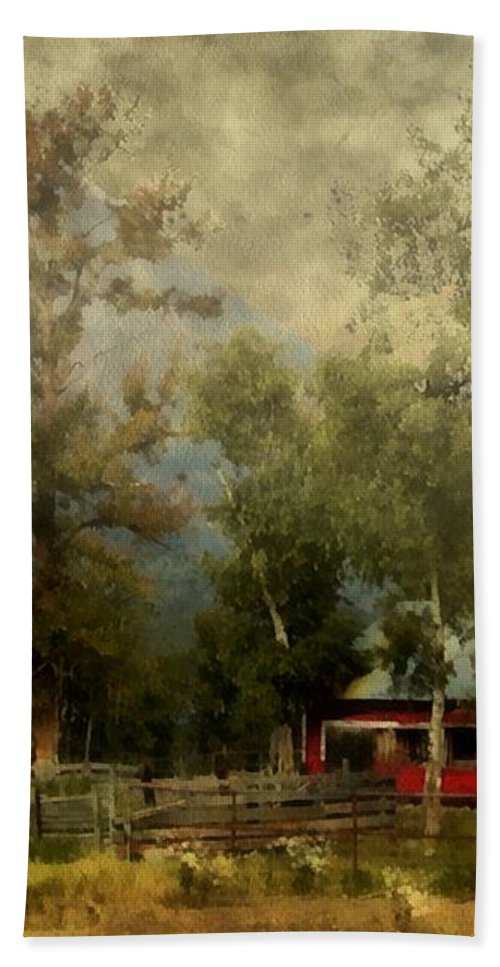 Landscape Bath Sheet featuring the painting Storm Approaching White Birch Cottage by RC DeWinter