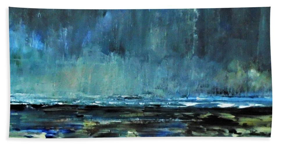 Storm Bath Sheet featuring the painting Storm At Sea II by Angela Cartner