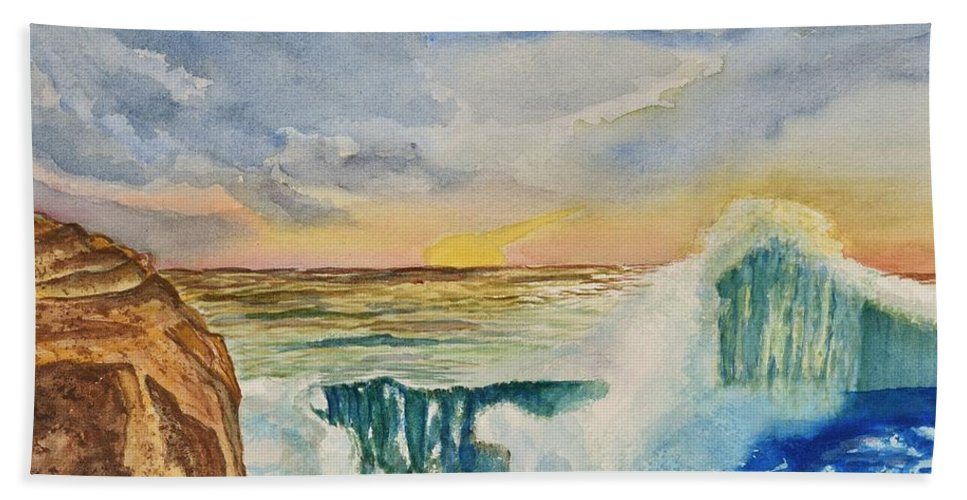 Linda Brody Hand Towel featuring the painting Storm At Sunset by Linda Brody