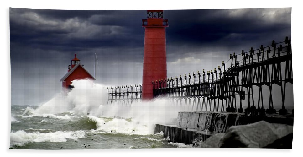 Art Bath Sheet featuring the photograph Storm At The Grand Haven Lighthouse by Randall Nyhof