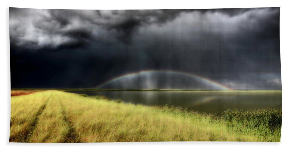 Storm Hand Towel featuring the digital art Storm Clouds And Rainbow Over Chaplin Lake Marshes by Mark Duffy
