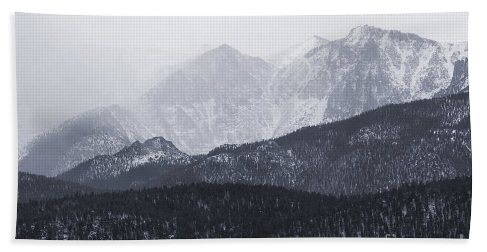 14er Hand Towel featuring the photograph Storm Clouds On Pikes Peak by Steve Krull