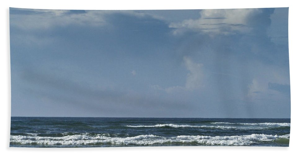 Ocean Hand Towel featuring the photograph Storm Clouds On The Horizon Ocean Isle North Carolina by Teresa Mucha