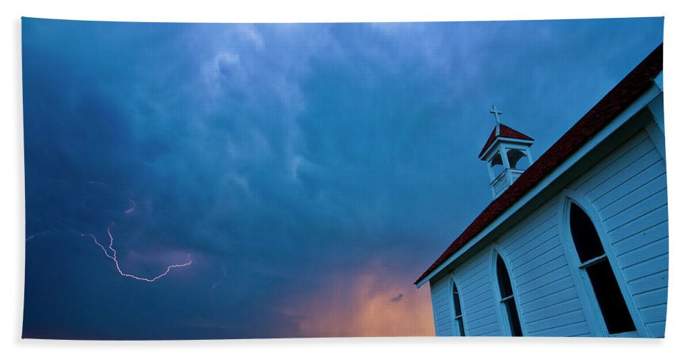 Church Hand Towel featuring the digital art Storm Clouds Over Saskatchewan Country Church by Mark Duffy