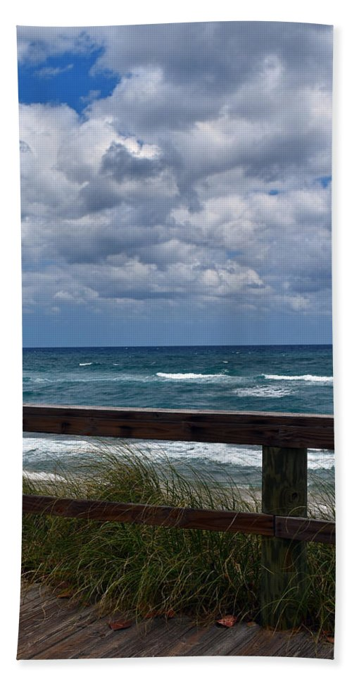 Beach Hand Towel featuring the photograph Storm Clouds Over The Beach by Maria Keady