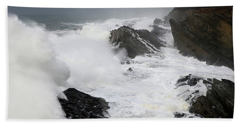 Lighthouse Hand Towel featuring the photograph Storm On The Oregon Coast 2 by Bob Christopher