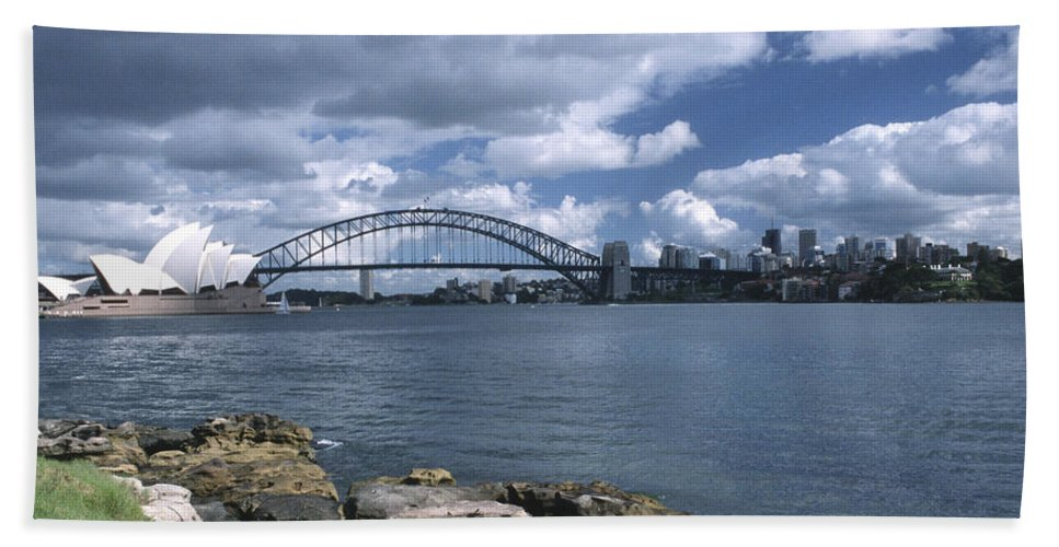 Australia Bath Sheet featuring the photograph Storm Over Sydney Harbor by Sandra Bronstein