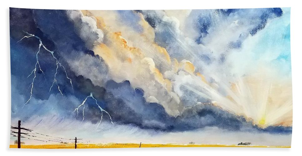 Storm Bath Sheet featuring the painting Storm Over The Country Road by Deepa Sahoo