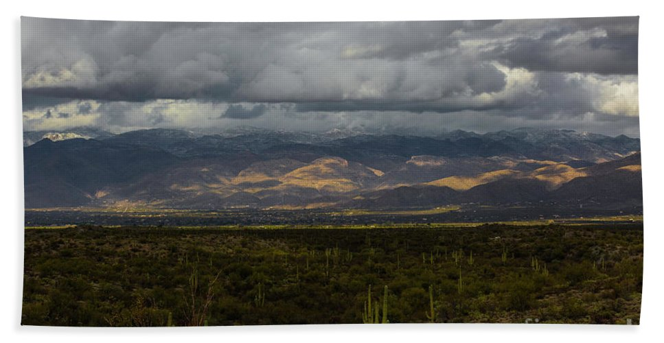 Arizona Bath Sheet featuring the photograph Storm Over The Mountains Of Arizona by Billy Bateman