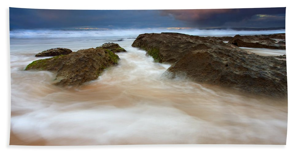Seascape Hand Towel featuring the photograph Storm Shadow by Mike Dawson