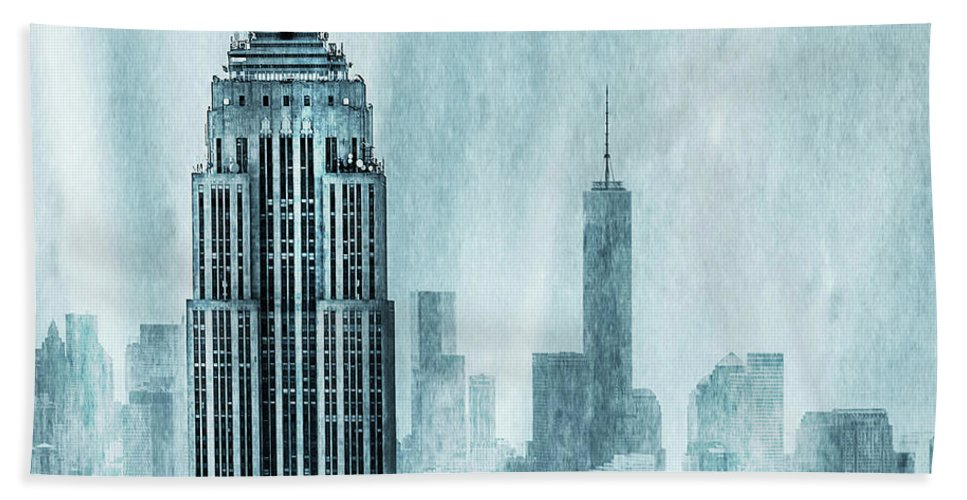 Empire State Building Bath Towel featuring the digital art Storm Troopers by Az Jackson