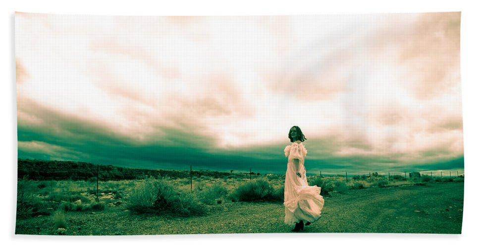 Woman Hand Towel featuring the photograph Storm Walk - Split Tone by Scott Sawyer