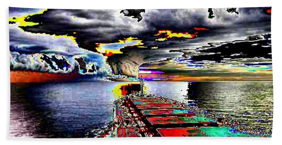 Storm Clouds Bath Towel featuring the photograph Storm Warning by Tim Allen