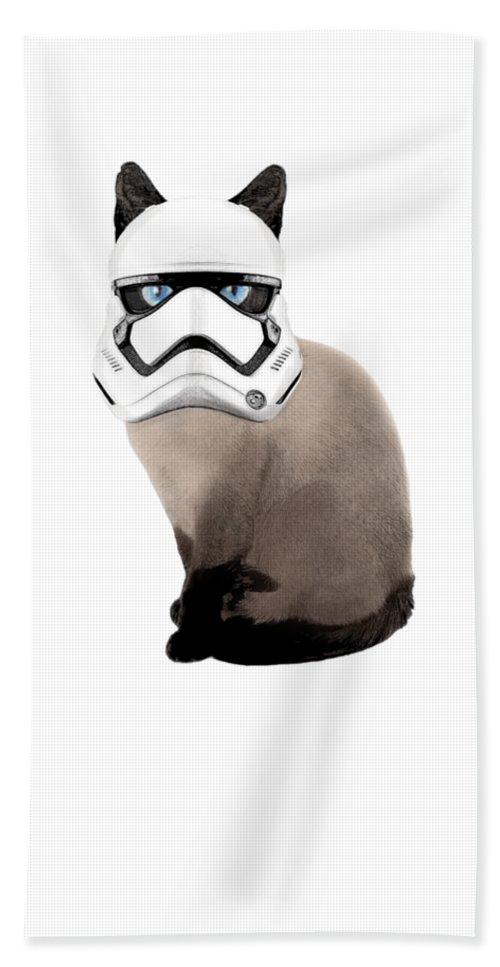 Cat Hand Towel featuring the digital art Stormie Trooper by Sierra Moore