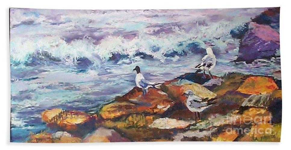 Coastal Bath Towel featuring the pastel Stormwatch IIi by Alicia Drakiotes