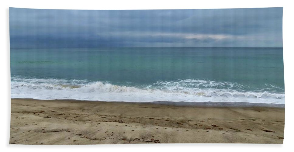 San Clemente Bath Sheet featuring the photograph Stormy Beach by Connor Beekman