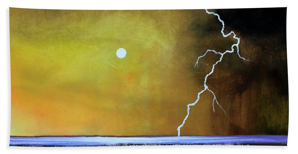 Storm Bath Sheet featuring the painting Stormy Beach by Toni Grote