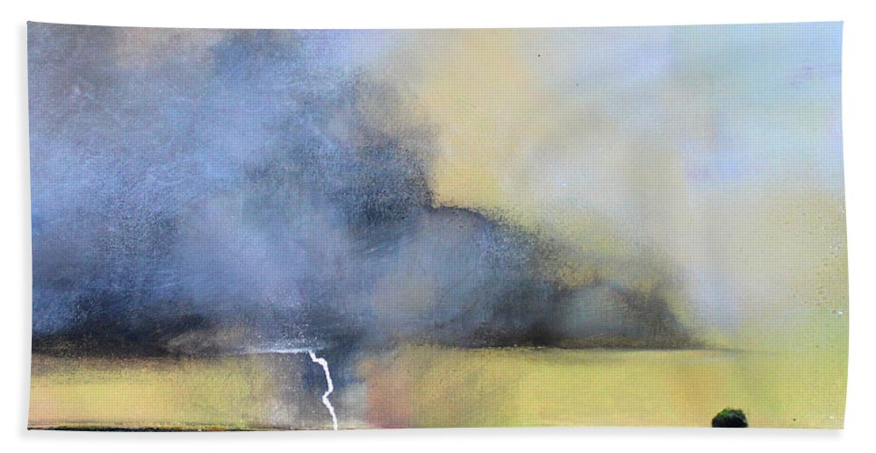 Storm Hand Towel featuring the painting Stormy Field by Toni Grote