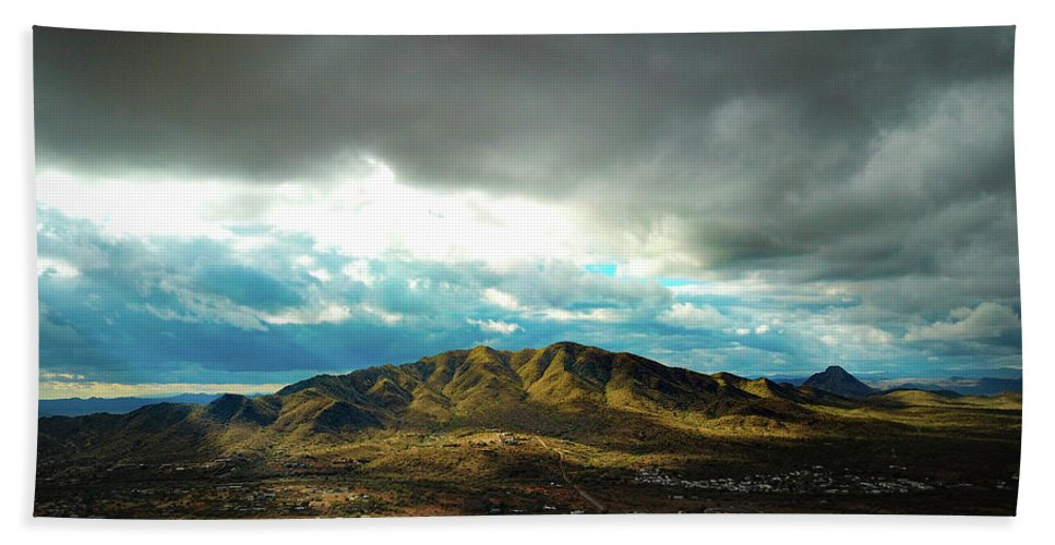 Drone Photography Hand Towel featuring the photograph Stormy Mountains In Sunlight by David Stevens
