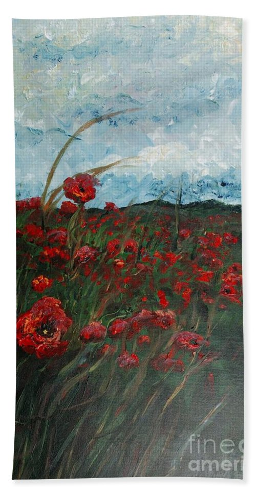 Poppies Bath Sheet featuring the painting Stormy Poppies by Nadine Rippelmeyer