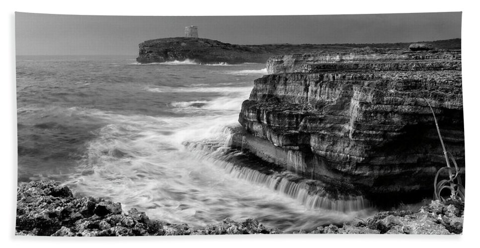 Storm Bath Sheet featuring the photograph stormy sea - Slow waves in a rocky coast black and white photo by pedro cardona by Pedro Cardona Llambias